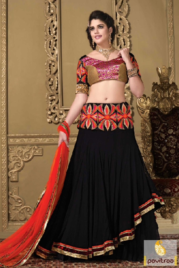 46425e2071 Pavitraa Black And Red Designer Lehenga Choli « Indian Lehenga Choli